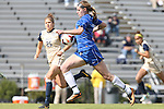 27 October 2013: Duke's Kelly Cobb (in blue) and Pittsburgh's Morgan Sharick (25). The Duke University Blue Devils hosted the Pittsburgh University Panthers at Koskinen Stadium in Durham, NC in a 2013 NCAA Division I Women's Soccer match. Duke won the game 6-3.