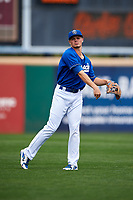 Rancho Cucamonga Quakes shortstop Gavin Lux (14) warms up before a California League game against the Lake Elsinore Storm at LoanMart Field on May 20, 2018 in Rancho Cucamonga, California. Rancho Cucamonga defeated Lake Elsinore 6-2. (Zachary Lucy/Four Seam Images)