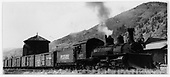 RGS K-27 #455 with freight train arriving at Telluride.<br /> RGS  Telluride, CO  after 9/1939
