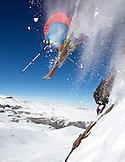 CHILE, Valle Nevado Resort, Palmer Hoyt ripping fresh powder in the backcountry