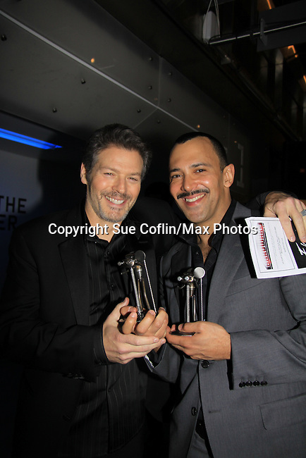 """WINNER - """"Hustling"""" -  Days of Our Lives Kevin Spirtas """"Craig Wesley"""", One Life To Live """"Jonas Chamberlain"""" and Young and Restless """"Les"""" and Sebastian LaCause  is in Hustling is a presenter at We Love Soaps and The Indie Series Network present the 4th Annual Indie Soap Awards - ISAs on February 19, 2013 from New World Stages, New York City, New York. (Photo by Sue Coflin/Max Photos)"""