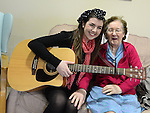 The Voice of Ireland finalist Katy Anna Mohan pictured with resident Gonzie Marry when she paid a visit to Moorhall Drogheda. Photo:Colin Bell/pressphotos.ie