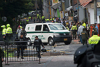 BOGOTA.COLOMBIA-FEBRUARY 19:  Police and crime scene investigators look for evidence after a bomb exploded in the Macarena neighborhood of Bogotá, Colombia. behind the La Santamaría bullfighting ring on February 19, 2017. Photo by VIEWpress/Stephen Ferry