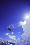 A man jumping while skiing at Squaw Valley, CA.