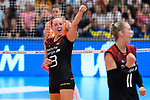 23.08.2018, Sporthalle Berg Fidel, Muenster<br />Volleyball, LŠnderspiel / Laenderspiel, Deutschland vs. Niederlande<br /><br />Jubel Denise Hanke (#3 GER), Louisa Lippmann (#11 GER)<br /><br />  Foto &copy; nordphoto / Kurth
