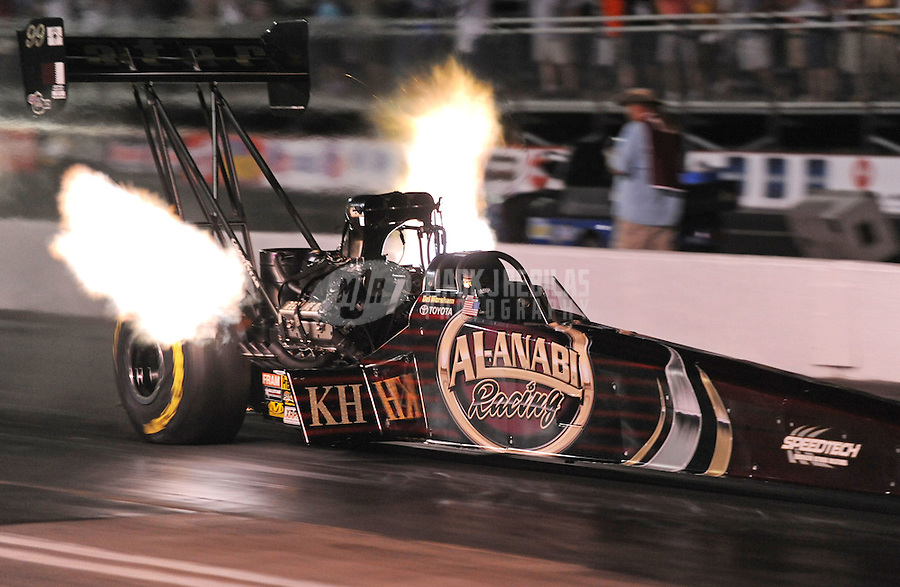 May 13, 2011; Commerce, GA, USA: NHRA top fuel dragster driver Del Worsham during qualifying for the Southern Nationals at Atlanta Dragway. Mandatory Credit: Mark J. Rebilas-