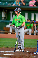 Max Dutto (6) of the Great Falls Voyagers at bat against the Ogden Raptors in Pioneer League action at Lindquist Field on August 18, 2016 in Ogden, Utah. Ogden defeated Great Falls 10-6. (Stephen Smith/Four Seam Images)