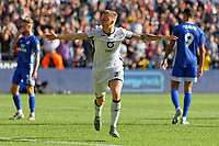 Ben Wilmot of Swansea City celebrates his goal during the Sky Bet Championship match between Swansea City and Cardiff City at the Liberty Stadium, Swansea, Wales, UK. Sunday 27 October 2019