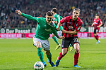 02.11.2019, wohninvest WESERSTADION, Bremen, GER, 1.FBL, Werder Bremen vs SC Freiburg<br /> <br /> DFL REGULATIONS PROHIBIT ANY USE OF PHOTOGRAPHS AS IMAGE SEQUENCES AND/OR QUASI-VIDEO.<br /> <br /> im Bild / picture shows<br /> Milot Rashica (Werder Bremen #07) im Duell / im Zweikampf mit Roland Sallai (SC Freiburg #22), <br /> <br /> Foto © nordphoto / Ewert