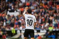 29th February 2020; Mestalla, Valencia, Spain; La Liga Football,Valencia versus Real Betis; Dani Parejo of Valencia CF greets the crowd after scoring the second goal for his team in minute 88 for 2-1