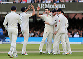 9th September 2017, Lords Cricket Ground, London, England; International test match series, third test, Day 3; England versus West Indies; England Bowler James Anderson celebrates taking the wicket of West Indies Jermaine Blackwood with Ben Stokes, Alastair Cook and team mates, caught behind by Wicket Keeper Jonny Bairstow
