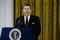 Washington DC., USA, April 4, 1984<br /> President Ronald Reagan news conference in the East Room Credit: Mark Reinstein/MediaPunch
