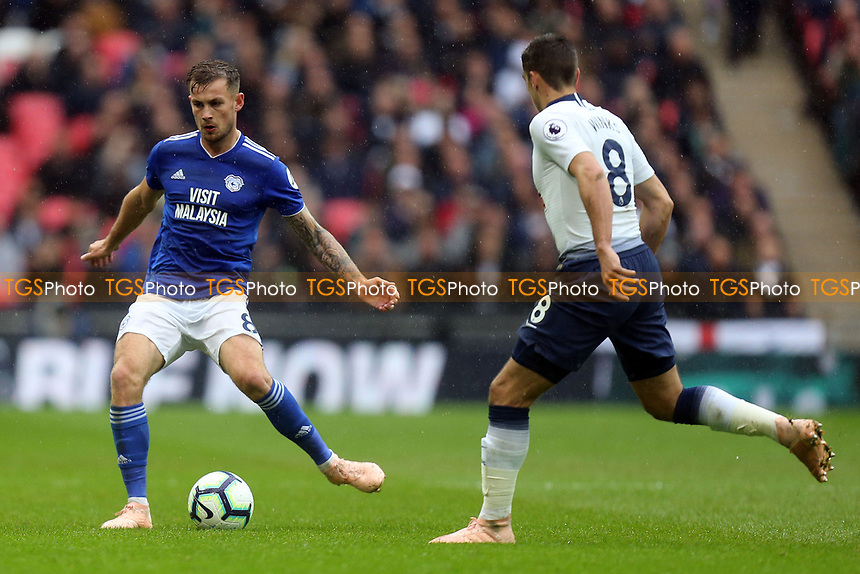 Joe Ralls of Cardiff City and Harry Winks of Tottenham Hotspur during Tottenham Hotspur vs Cardiff City, Premier League Football at Wembley Stadium on 6th October 2018