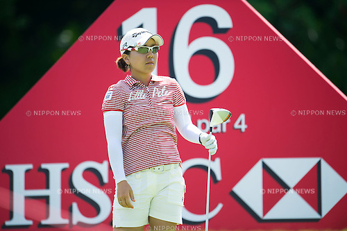 Mika Miyazato (JPN), MARCH 2, 2013 - Golf : Mika Miyazato of Japan tees off on the 16th hole during the third round of the the HSBC Women's Champions golf tournament at Sentosa Golf Club in Singapore. (Photo by Haruhiko Otsuka/AFLO)