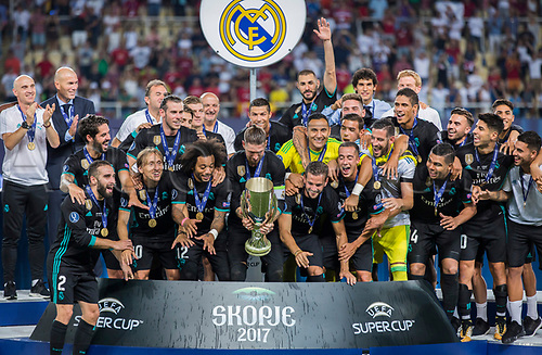 August 8th 2017, Philip II National Arena, Skopje, Macedonia; 2017 UEFA Super Cup; Real Madrid versus Manchester United; players of Realm Madrid celebrate a victory with of the Super Cup with a trophy