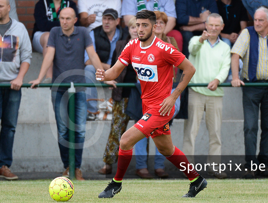 20150715 - LICHTERVELDE , BELGIUM : Kortrijk's Samuel Gigot pictured during a friendly match between Belgian first division team KV Kortrijk and Belgian second division soccer team Cercle Brugge , during the preparations for the 2015-2016 season, Wednesday 15th July 2015 in Lichtervelde . PHOTO DAVID CATRY