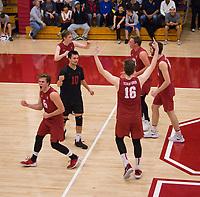 STANFORD, CA - March 10, 2018: Russell Dervay, Evan Enriques, Matt Klassen, Leo Henken, Eli Wopat, Kyler Presho at Burnham Pavilion. The Stanford Cardinal lost to UC Irvine, 3-0.