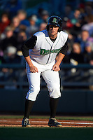 Dayton Dragons third baseman Gavin LaValley (29) leads off first during a game against the Great Lakes Loons on May 21, 2015 at Fifth Third Field in Dayton, Ohio.  Great Lakes defeated Dayton 4-3.  (Mike Janes/Four Seam Images)