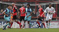 Jamal Blackman (R) of Wycombe Wanderers makes a save from Morecambe Kevin Ellison Strike during the Sky Bet League 2 match between Morecambe and Wycombe Wanderers at the Globe Arena, Morecambe, England on 29 April 2017. Photo by Stephen Gaunt / PRiME Media Images.