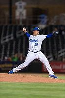 Omaha Storm Chasers relief pitcher Andres Machado (59) during a Pacific Coast League game against the Memphis Redbirds on April 26, 2019 at Werner Park in Omaha, Nebraska. Memphis defeated Omaha 7-3. (Zachary Lucy/Four Seam Images)