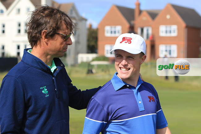 Conor Purcell (GB&I) with Neil Manchip on the 17th after winning his opening match during the Foursomes at the Walker Cup, Royal Liverpool Golf CLub, Hoylake, Cheshire, England. 07/09/2019.<br /> Picture Thos Caffrey / Golffile.ie<br /> <br /> All photo usage must carry mandatory copyright credit (© Golffile | Thos Caffrey)