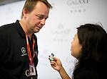 Galaxy Double R Racing Team Principal Anthony Hieatt is interviewed in the team garage on 19th November 2011 ahead of the 2011 Formula 3 Macau Grand Prix. © Raf Sanchez / PSI for Galaxy Macau