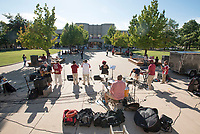 NWA Democrat-Gazette/J.T. WAMPLER The Fayetteville band Funk Factory, plays Thursday Sept. 6, 2018 in front of the Student Union at the University of Arkansas to kickoff of Celebrating Inclusion and Diversity.<br />