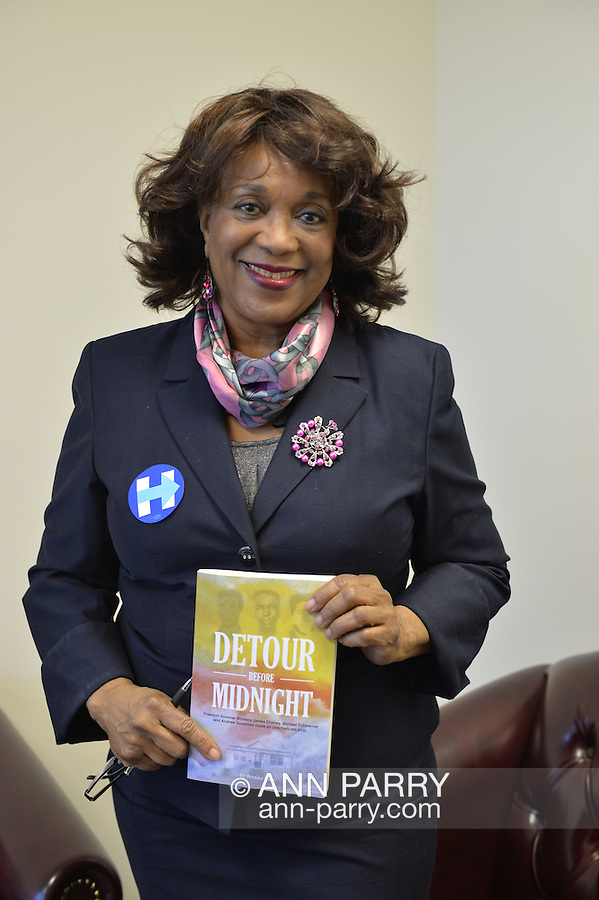 """Garden City, New York, USA. April 17, 2016. BERNICE SIMS, a campaign volunteer for Democratic presidential primary candidate Hillary Clinton, is wokring at the Canvass Kickoff at the Nassau County Democratic Office. Ms. Sims is a social worker, civil rights activist and author of the  2014 book """"Detour Before Midnight"""" - her personal account of the last hours she and her family were with the Mississipi Burning civil rights workers killed by the KKK in 1964."""