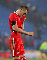 Chris Gunter of Wales shows his disappointment during the international friendly soccer match between Wales and Panama at Cardiff City Stadium, Cardiff, Wales, UK. Tuesday 14 November 2017.