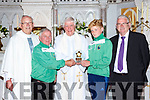 Canon David Lupton Manchester England was made a special presentation by Castleisland AFC soccer club to celebrate his Golden Jubilee in St Stephen and John church Castleisland on Sunday l-r: Monsignor Dan Riordan, Georgie O'Callaghan, Canon Lupton, Colm Roche and John Mitchell