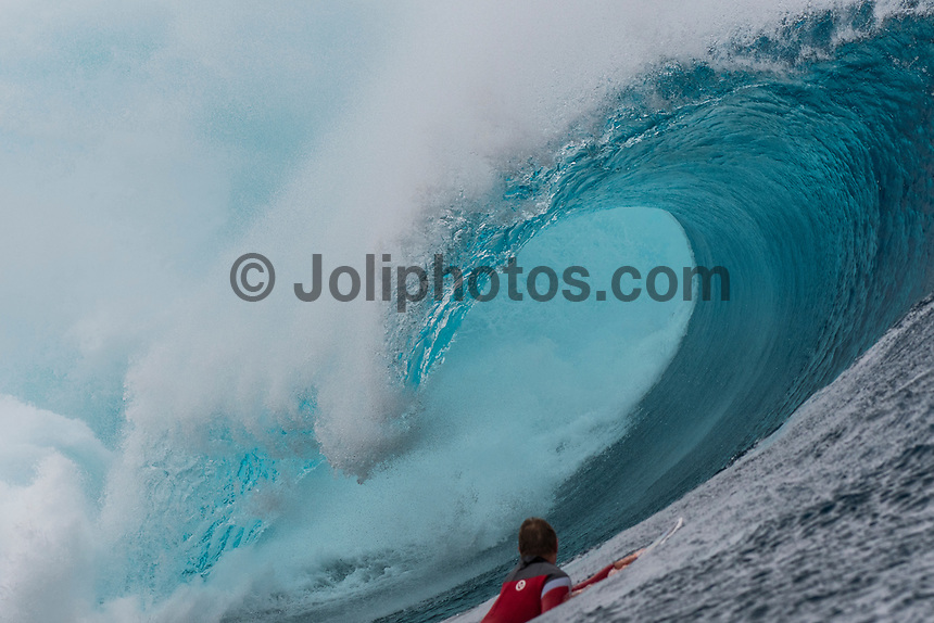 Namotu Island Resort, Nadi, Fiji (Monday, May 22 2017): Cheyne Horan (AUS) The wind  this morning was light from the South South East with high tide around 3.30pm.  The swell had jumped overnight and continued to build through the day. Cloudbreak had 10' plus faces and was barreling through the inside ,especially around the 9.30 low tide. A big group of pro surfers, both male and female, were surfing Cloudbreak in preparation for the OK Fiji Pro which begins on Saturday. Guests surfed Cloudbreak and Lefts.   The fishing crew returned with a catch of Ruby Snapper. Photo: joliphotos.com