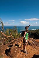 Hiking the Kalalau Trail along the Napali Coast, North Shore Kauaii, Hawaii