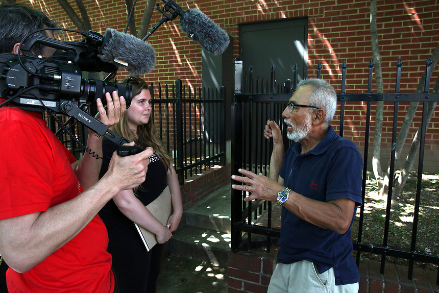 (180512RREI0026) Walter Martinez being interviewed by the Smithsonian. La Esquina Project goes to La Esquina.  The documentary project La Esquina revolves around the history of the Latinos at the corner of Mt. Pleasant St. and Kenyon St. NW. Washington DC. May 12, 2018 . ©  Rick Reinhard  2018     email   rick@rickreinhard.com