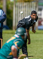 Anurag Verma bowls during the Ewen Chatfield Trophy Wellington premier men's club cricket match between Karori and Naenae at Benburn Park, Karori, Wellington, New Zealand on Sunday, 31 October 2015. Photo: Dave Lintott / lintottphoto.co.nz