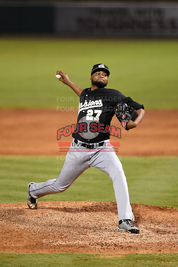 San Antonio Missions pitcher Luis De La Cruz (27) delivers a pitch during a game against the Arkansas Travelers on May 24, 2014 at Dickey-Stephens Park in Little Rock, Arkansas.  Arkansas defeated San Antonio 4-2.  (Mike Janes/Four Seam Images)