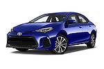 Stock pictures of low aggressive front three quarter view of 2017 Toyota Corolla XSE-AT 4 Door Sedan Low Aggressive