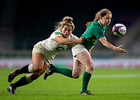 Ireland's Nicole Cronin evades the tackle of England's Vicky Fleetwood<br /> <br /> Photographer Bob Bradford/CameraSport<br /> <br /> 2018 Women's Autumn Internationals - England Women v Ireland Women - Saturday 24th November 2018 - Twickenham - London<br /> <br /> World Copyright &copy; 2018 CameraSport. All rights reserved. 43 Linden Ave. Countesthorpe. Leicester. England. LE8 5PG - Tel: +44 (0) 116 277 4147 - admin@camerasport.com - www.camerasport.com
