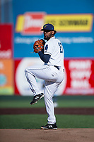 Everett AquaSox starting pitcher Elias Espino (21) delivers a pitch during a Northwest League game against the Tri-City Dust Devils at Everett Memorial Stadium on September 3, 2018 in Everett, Washington. The Everett AquaSox defeated the Tri-City Dust Devils by a score of 8-3. (Zachary Lucy/Four Seam Images)