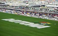The cars line up on pit road for the start of the 24 Hours of Daytona, IMSA race, Daytona International Speedway, Daytona Beach , FL, February 4, 1996.  (Photo by Brian Cleary/www.bcpix.com)