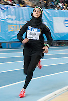 iSTAMBUL, TURQUIA, 09 DE MARCO 2012 - MUNDIAL DE ATLETISMO INDOOR - <br /> Woround Sawalha atleta da Palestina durante os 800 metros femininos na fase classificatoria no Mundial de Atlestismo Indoor na Arena Atakoy em Istambul na Turquia, nesta sexta-feira, 09 marco. (FOTO: BERND THISSEN / BRAZIL PHOTO PRESS).