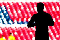 Player silhouettes from the Vanarama National League Playoff Final between AFC Fylde & Salford City at Wembley Stadium, London, England on 11 May 2019. Photo by James  Gil.