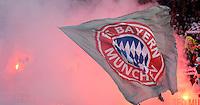 FUSSBALL   1. BUNDESLIGA  SAISON 2012/2013   12. Spieltag 1. FC Nuernberg - FC Bayern Muenchen      17.11.2012 FC Bayern Muenchen Fankurve mit Rauchbomben