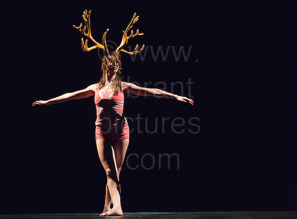 "Lisa Robert performing. UK premiere of ""Panorama"" by the Philippe Decouflé Company DCA, at Sadler's Wells Theatre in London. Performed by seven dancers, the piece takes in elements from eight earlier works. Running from 2-4 November 2012."