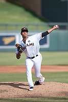 Salt River Rafters relief pitcher Miguel Del Pozo (38) of the Miami Marlins organization, delivers a pitch to the plate during an Arizona Fall League game against the Mesa Solar Sox on October 30, 2017 at Salt River Fields at Talking Stick in Scottsdale, Arizona. The Solar Sox defeated the Rafters 8-4. (Zachary Lucy/Four Seam Images)