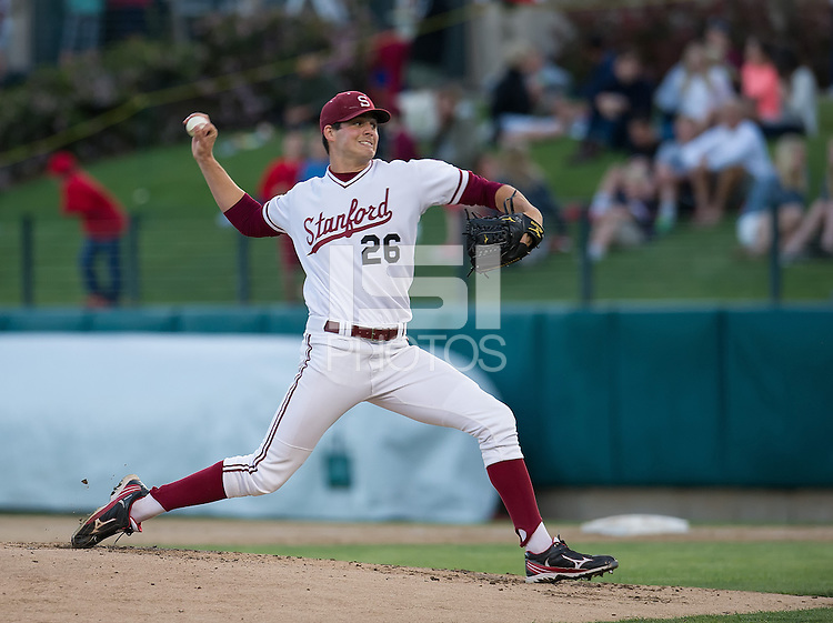 STANFORD, CA - April 19, 2013: Stanford starting pitcher Mark Appel (26) during the Stanford vs Arizona baseball game at Sunken Diamond in Stanford, California. Final score, Stanford 4, Arizona 3.