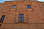 "A building with elaborate decorations on the facade and a prime example of the architecture in the historic downtown; buildings in Salamanca are made with sandstone that comes from the village of Villamayor; these stones have given Salamanca the nickname ""The Golden City"" or ""La Ciudad Dorada"""