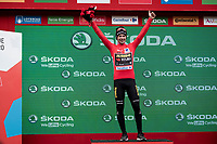 podium hapiness for Primoz Roglic (SVK/Jumbo-Visma) after securing his first Grand Tour win<br /> <br /> Stage 20: Arenas de San Pedro to Plataforma de Gredos (190km)<br /> La Vuelta 2019<br /> <br /> ©kramon