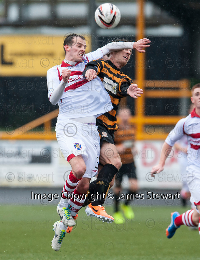 Alloa's Liam Buchanan gets an arm across his face from Stirling's James Creaney.