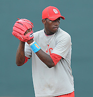 Pitcher Tyrell Jenkins (9) of the Johnson City Cardinals, Appalachian League affiliate of the St. Louis Cardinals, prior to a game against the Danville Braves on August 19, 2011, at Howard Johnson Field in Johnson City, Tennessee. Danville defeated Johnson City, 5-4, in 16 innings. (Tom Priddy/Four Seam Images)
