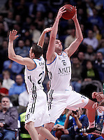 Real Madrid's Mirza Begic (r) and Jaycee Carroll during Euroleague 2012/2013 match.December 13,2012. (ALTERPHOTOS/Acero) /NortePhoto